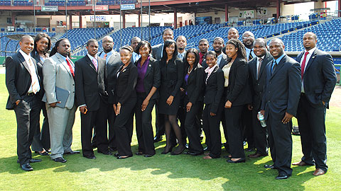 FAMU students and staff tour Bright House Field, home of the Clearwater Threshers.