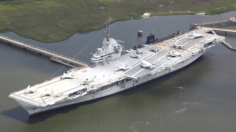 The USS Yorktown is stationed in Charleston Harbor.